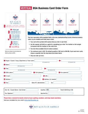 Fillable Online bsaseabase VerTicAL BSA Business card Order Form ...