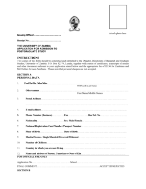 unza application form for 2014
