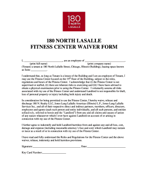 Fillable Online 180 NORTH LASALLE FITNESS CENTER WAIVER FORM Fax ...