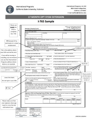 Fillable Online fullerton Sample of Completed Form I765 ...