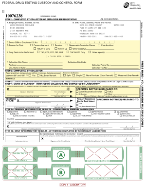 Fillable Online FEDERAL DRUG TESTING CUSTODY AND CONTROL FORM Fax ...