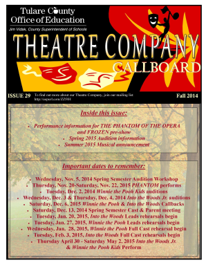 Theatre Company Callboard Newsletter - Tulare County Office of ... - tcoe