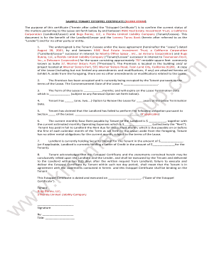 tenant estoppel letter sample  Fillable Online SAMPLE TENANT ESTOPPEL CERTIFICATE (BLANK FORM ...