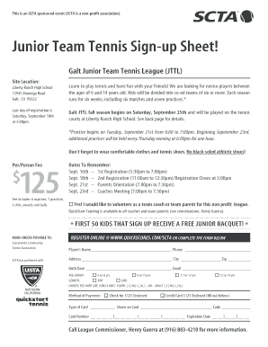 Junior Team Tennis Sign-up Sheet - QuickScorescom