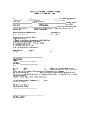 Child Guardian Consent Form - Fill Online, Printable, Fillable ...