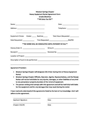 Heavy Equipment Rental Agreement - Fill Online, Printable ...
