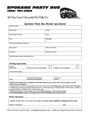 Prty Contract Agreement | Sample Party Bus Contract Fill Online Printable Fillable Blank