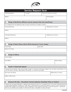Fillable Online Service Request Form Continental American Insurance Company Fax Email Print Pdffiller
