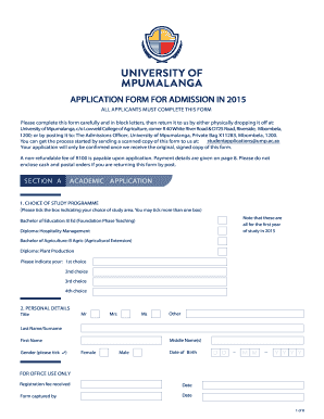 ... application form for admission in 2015 - University of Mpumalanga