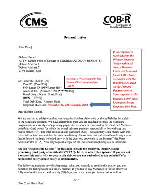 Fillable Online cms Sample GHP Demand Letter PDF, 93KB   Centers