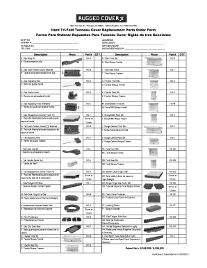 Fillable Online Hard Tri Fold Tonneau Cover Replacement Parts Order Form Forma Fax Email Print Pdffiller
