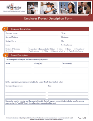 Employer Project Description Form - Illinois workNet