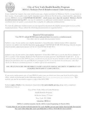 Fillable Online nycppf 2011 IRMAA Medicare Part B Reimbursement ...