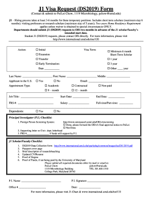 J1 (DS2019) Request Form - University of Maryland - cbmg umd