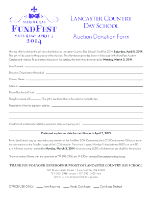 Auction Donation Form - Lancaster Country Day School