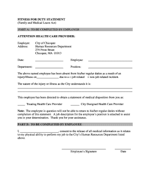 Fillable Online chicopeema FMLA Fitness for Duty Form - City of ...