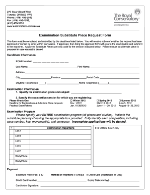 Fillable Online Examination Substitute Piece Request Form - RCM ...