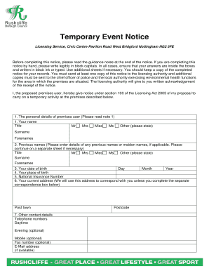 Rushcliffe Event Temporary Fax Gov Print Form Notice Online Pdffiller - Application Fillable Email