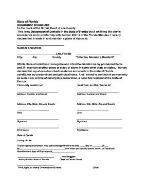 lee county declaration domicile - PDFfiller