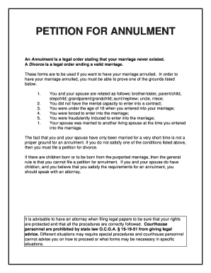 PETITION FOR ANNULMENT - Online Divorce Papers and Divorce Forms