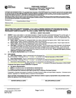Hawaii Association Of Realtors Purchase Contract  Purchasing Contract Template