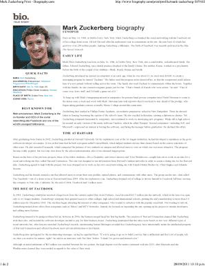 Fillable Online Mark Zuckerberg Print Biography Fax Email Print Pdffiller