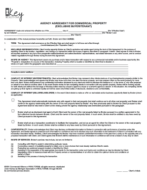 Agency Agreement for Commercial Property exclusive buyertenant- michigan - keyrealtyresources