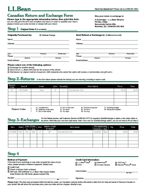 Fillable Online Canadian Return And Exchange Form - L.L. Bean Fax ...