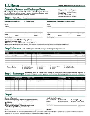 ll bean return form Fillable Online Canadian Return And Exchange Form - L.L. Bean Fax ...