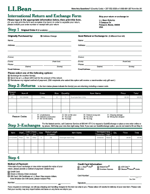 International Return and Exchange Form - L.L. Bean