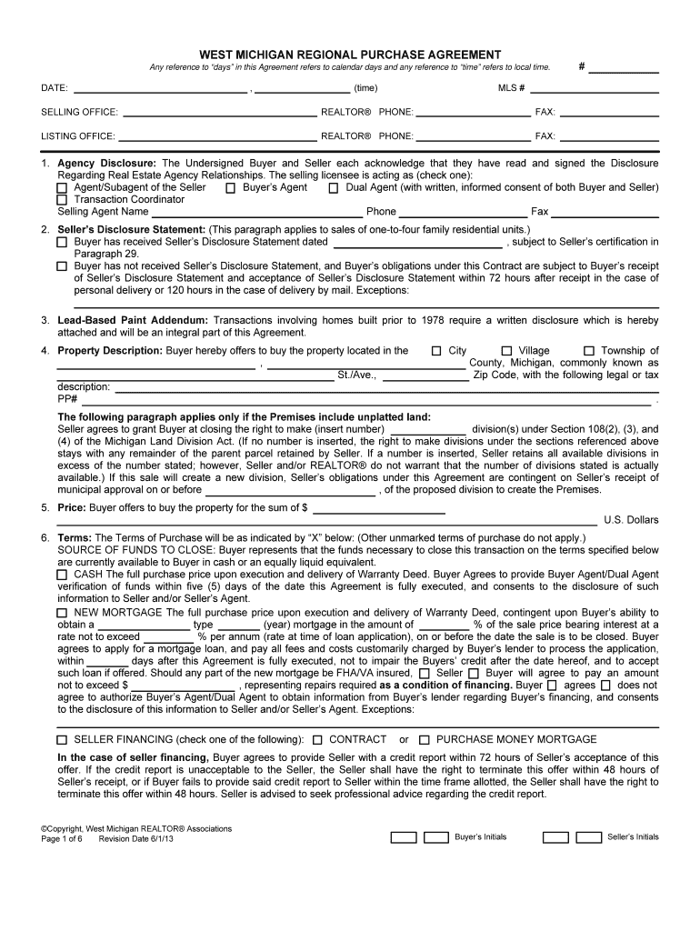 Purchase Agreement Michigan Fill Online Printable