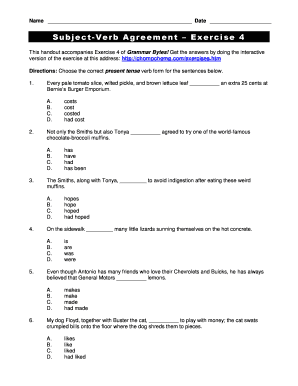 Insane image for subject verb agreement printable worksheets