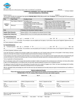 Commission Agreement Form for Lease &amp
