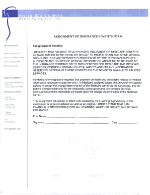 Fillable insurance assignment of benefits form - Edit ...