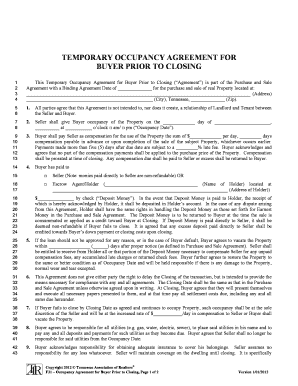 Fillable Online F31 2012 Occupancy Agreement For Buyer Prior To