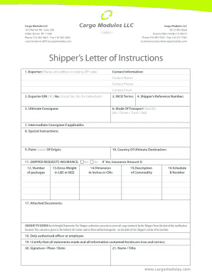 shipper letter of instruction editable foreign intermediate consignee fill out print 24829 | 48932033
