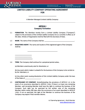 Fillable Online LLC Operating Agreement New Jersey MultiMember - Llc operating agreement pdf