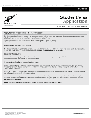 2018-2020 Form NZ INZ 1012 Fill Online, Printable, Fillable ... on example job application letter, example order form, example proposal form,
