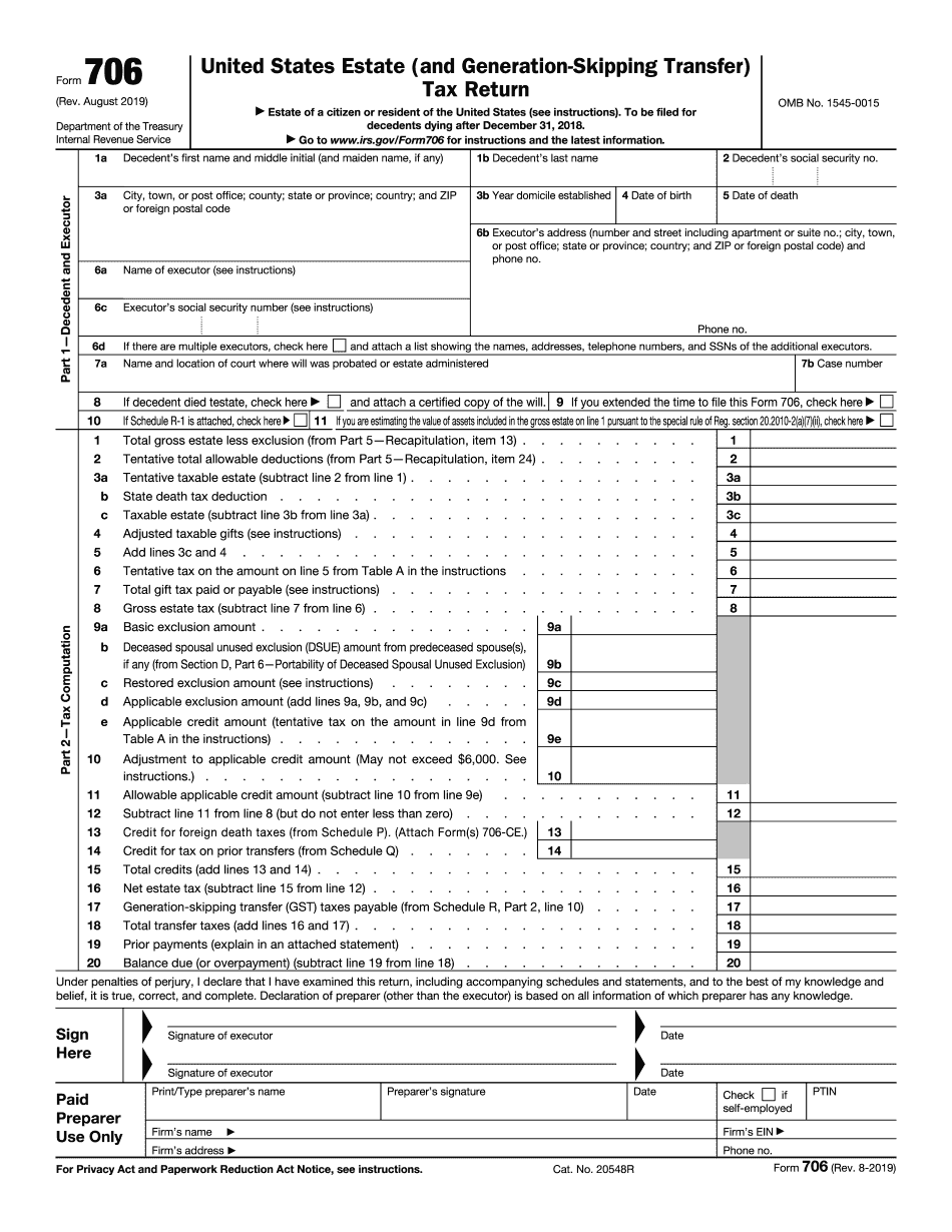 Necessary Information for Submitting Form 706