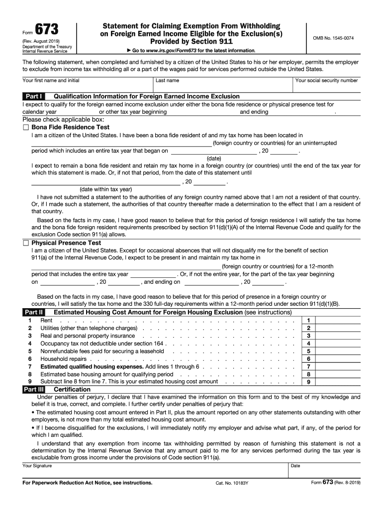 2019 Form Irs 673 Fill Online Printable Fillable Blank Pdffiller