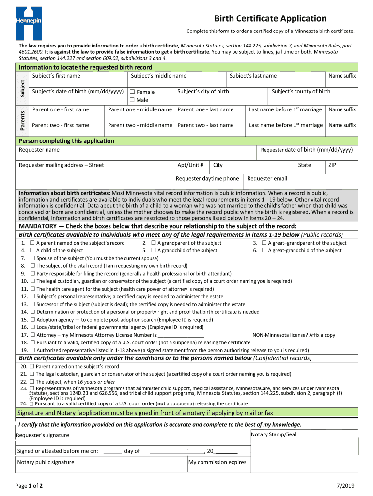 birth certificate application mn county hennepin form forms 2021 minnesota printable template fill sign