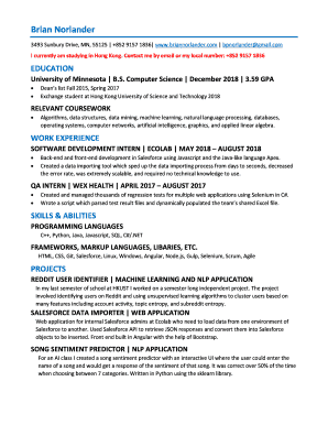 Fillable Online Resume Brian Norlander Fax Email Print Pdffiller