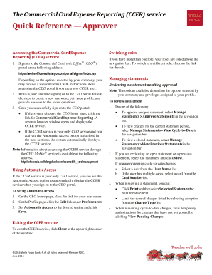 Fillable Online CCER Approver Quick Reference Guide. Wells Fargo