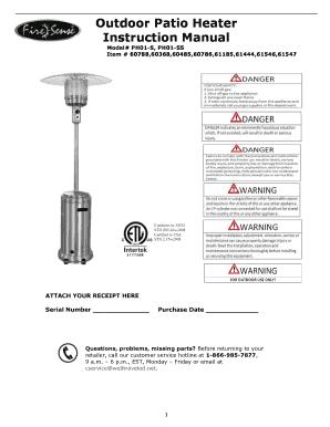 #61444, 60485, 61185 Fire Sense Commercial Propane Patio Heater