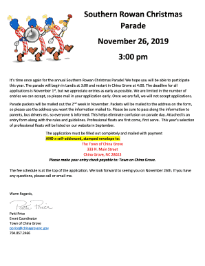 Fillable Online 41st Annual Southern Rowan Christmas Parade