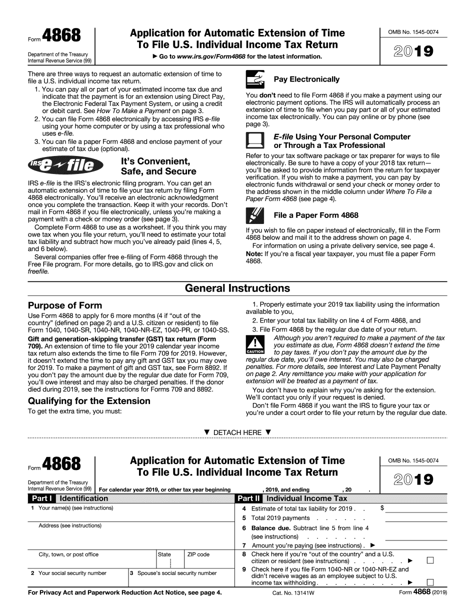 irs form 4868 for 2019