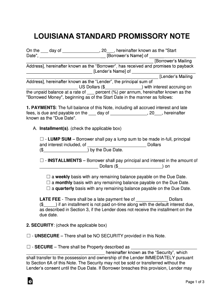 Louisiana Standard Promissory Note Template   Fill and Sign ...