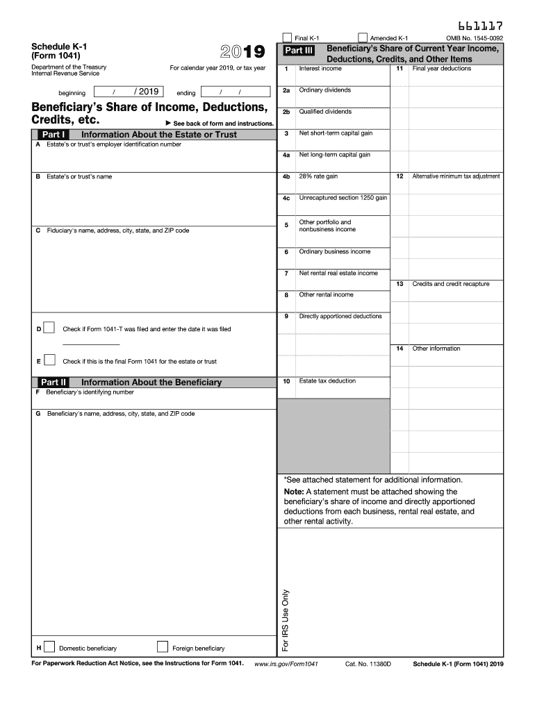 Form 2553 2019 form irs 1041 - schedule k-1 fill online, printable