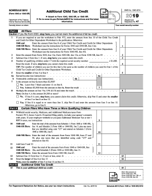 2019 Form Irs 1040 Schedule 8812 Fill
