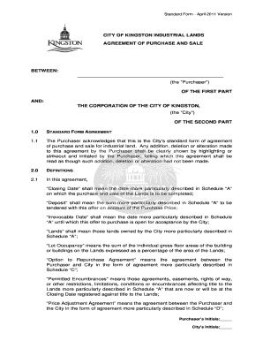 City of Kingston Agreement of Purchase and Sale form - archive cityofkingston
